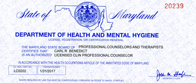 Carl's 2015-2017 Professional Counselor License
