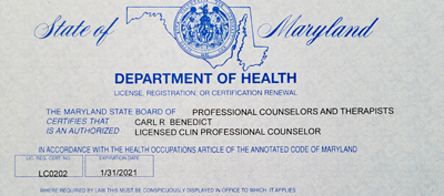 Carl's Maryland Professional Counselors License